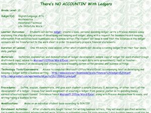 There's No Accountin with Ledgers Lesson Plan