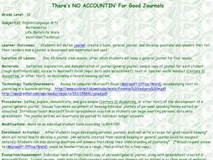 There's No Accounting for Good Journals Lesson Plan
