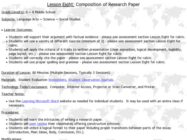 Composition of Research Paper Lesson Plan