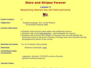 Stars and Stripes Forever: Researching Veteran's Day and Historical Events Lesson Plan