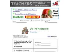 Do The Research! Antarctica Worksheet