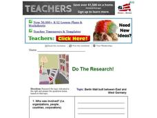 Do the Research! Berlin Wall Between East and West Germany Worksheet
