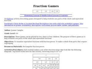 Fraction Games Lesson Plan