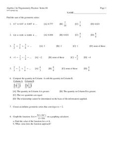 Algebra 2 and Trigonometry Practice Series #4 Worksheet