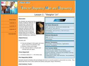 Tools for Integrating Math and Engineering:  Weighin' In Lesson Plan