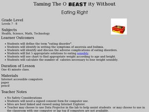 Taming the O-BEAST-ITY Without Eating Right Lesson Plan