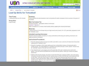 Lead Up Skills fo Tchoukball Lesson Plan