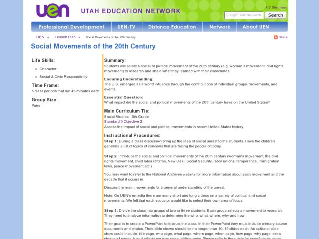 Social Movements of the 20th Century Lesson Plan