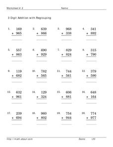 3 Digit Addition with Regrouping Worksheet