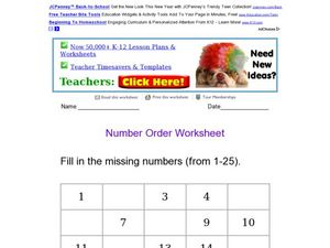 Fill In The Missing Numbers From 1 to 25 Worksheet