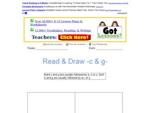 Read and Draw: Hard and Soft C and G Worksheet