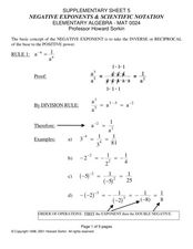 Negative Exponents and Scientific Notation Worksheet