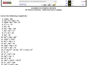 Factoring Review Lesson Plan
