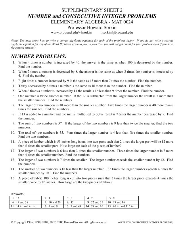 {Number and Consecutive Integer Problems 9th 12th Grade Worksheet – Consecutive Integer Problems Worksheet
