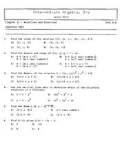 Chapter 10-Relations and Functions, Practice Test Worksheet for 8th ...