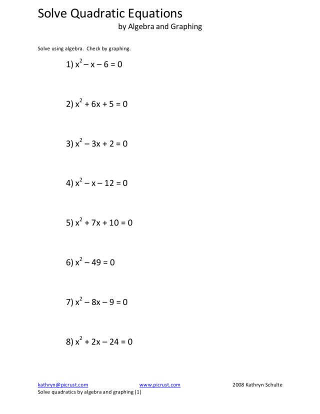 Solve Quadratic Equations by Algebra and Graphing Worksheet for ...