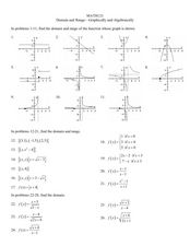 Domain and Range: Graphically and Algebraically Worksheet