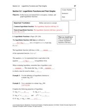Logarithmic Functions and Their Graphs Worksheet