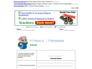 If I Were A ...? Worksheet (Animals) Worksheet
