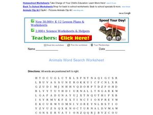 Animals Word Search Worksheet Worksheet