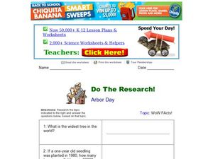 Do the Research! Arbor Day Worksheet