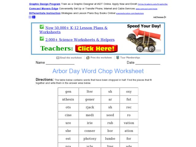 Arbor Day Word Chop Worksheet for 4th - 5th Grade | Lesson