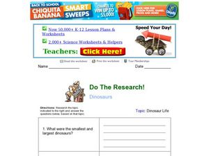 Do the Research! Dinosaur Life Worksheet