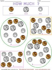 How Much? Pennies, Nickels and Dimes Worksheet