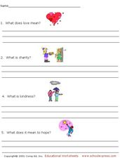 Love, Charity, Kindness, Hope Worksheet