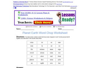 planet earth word chop worksheet worksheet for 4th 6th grade lesson planet. Black Bedroom Furniture Sets. Home Design Ideas
