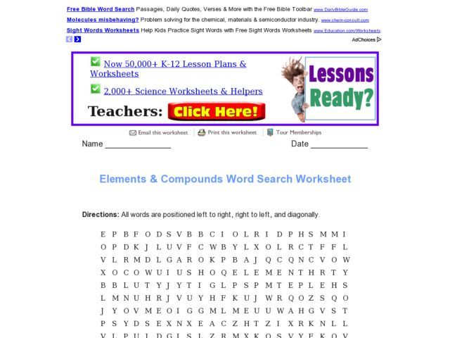 Elements and Compounds Word Search Worksheet 5th - 6th Grade ...