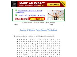 Forces of Nature Word Search Worksheet Worksheet