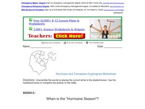 Hurricane and Tornadoes Cryptogram Worksheet Worksheet