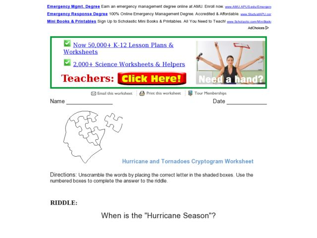 Hurricane and Tornadoes Cryptogram Worksheet 3rd 5th Grade – Hurricane Worksheets