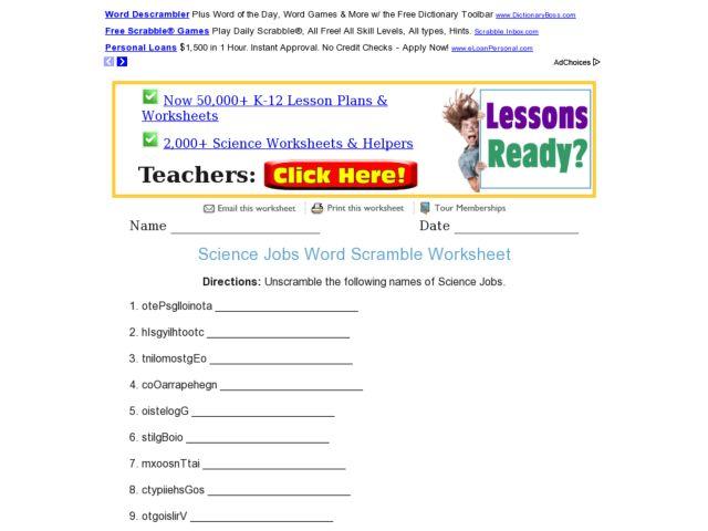 science jobs word scramble worksheet worksheet for 6th 7th grade lesson planet. Black Bedroom Furniture Sets. Home Design Ideas