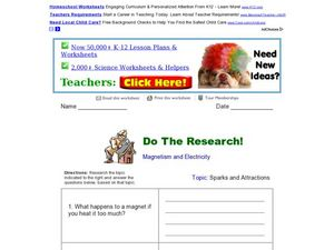 Do the Research! Magnetism and Electricity Worksheet