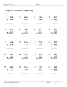 3 digit addition without regrouping Worksheet