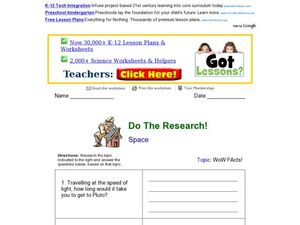 Do The Research! Space Worksheet