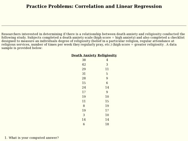 Practice Problems: Correlation and Linear Regression 9th - 11th ...