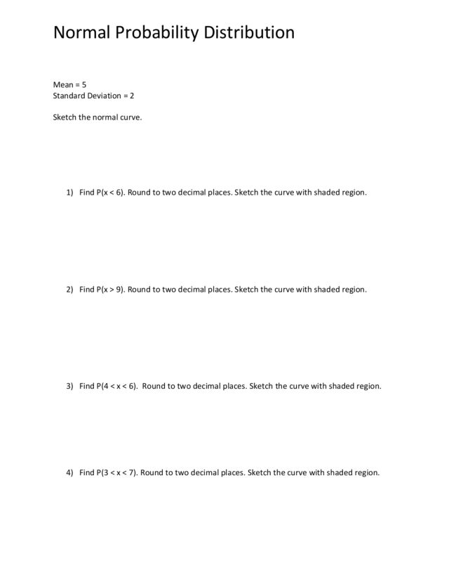 Finding Probability Using the Normal Probability Distribution 11th – Normal Distribution Worksheet