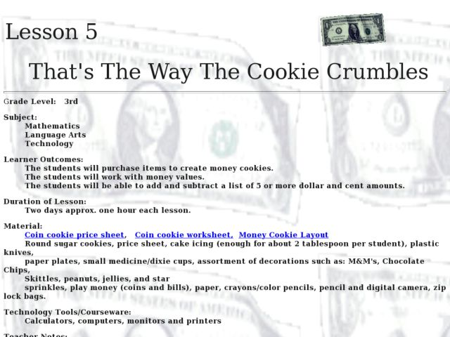That's The Way the Cookie Crumbles Lesson Plan for 3rd