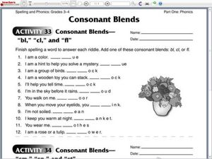 Consonant Blends: bl, cl, and fl Worksheet for 2nd - 3rd Grade ...