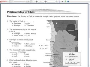 Political Map Worksheet.Political Map Of Chile Worksheet For 5th 8th Grade Lesson Planet