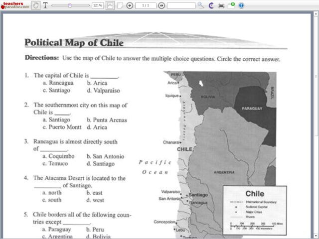 Political Map of Chile Worksheet for 5th - 8th Grade ...