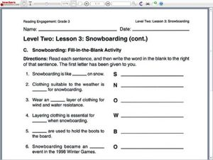 Snowboarding: Fill-In-The-Blanks Worksheet