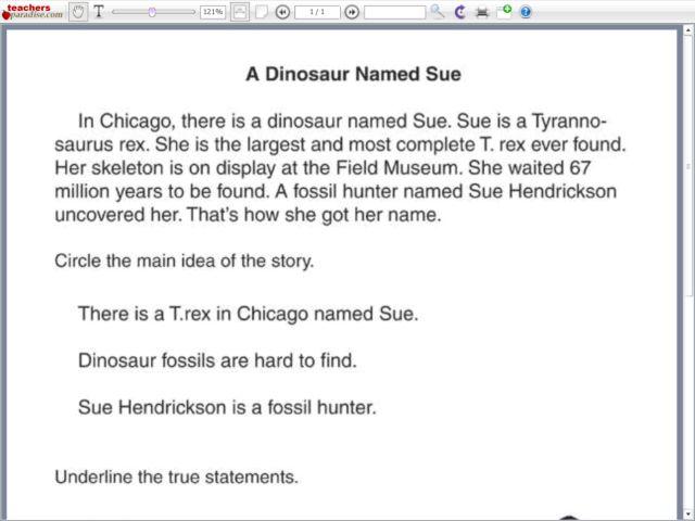 reading comprehension a dinosaur named sue worksheet for 1st 3rd grade lesson planet. Black Bedroom Furniture Sets. Home Design Ideas