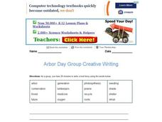 Arbor Day Group Creative Writing Worksheet