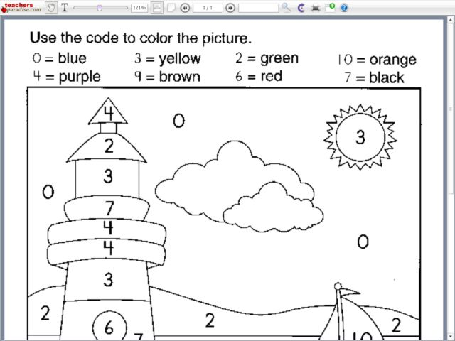Coloring by Number: Lighthouse Worksheet for Pre-K