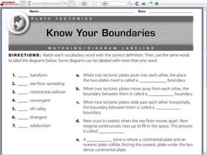know your boundaries plate tectonics worksheet for 4th 6th grade lesson planet. Black Bedroom Furniture Sets. Home Design Ideas
