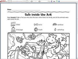 Noah's Ark Activity Worksheet for Pre-K - 1st Grade   Lesson ...